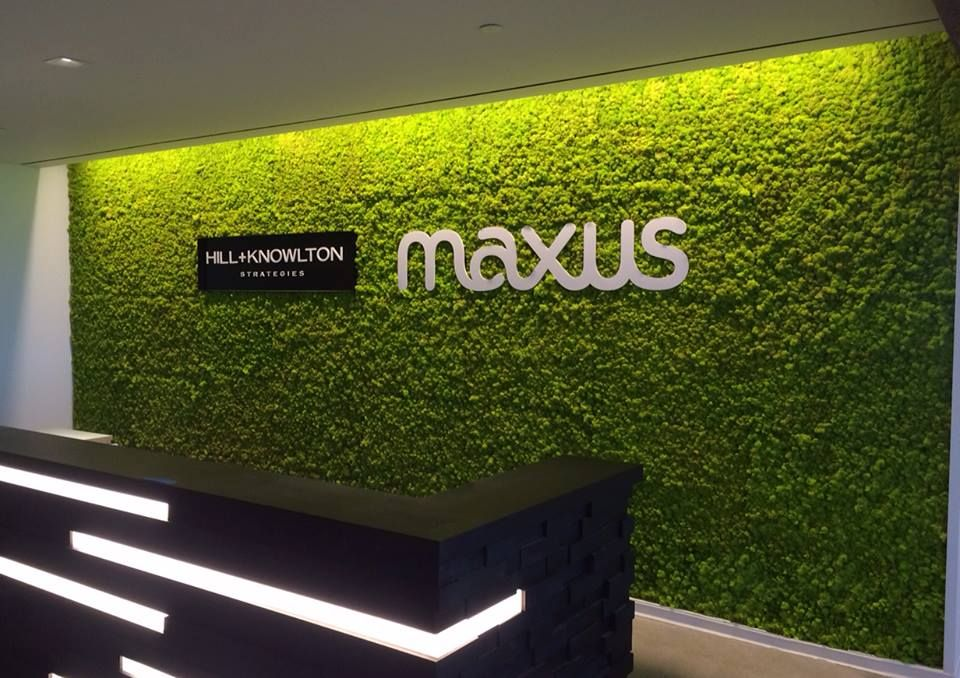 Our first living wall made out of preserved moss panels for Living wall systems
