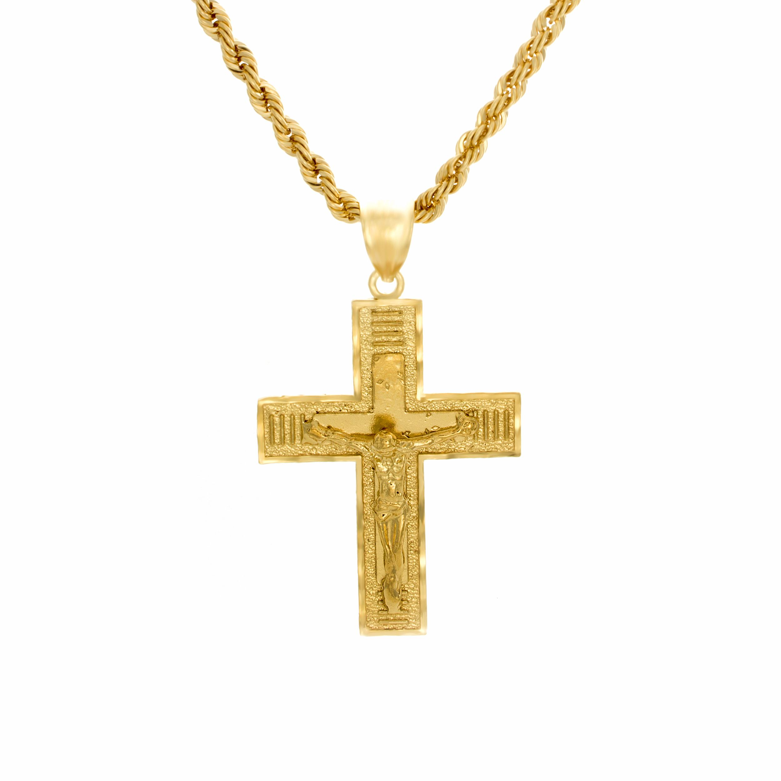 Sterling essentials k gold plated silver crucifix laser rope