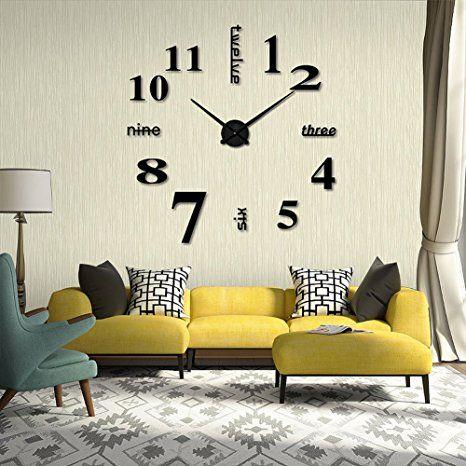 Spiegel Edelstahl Wand Uhr Wohnzimmer wanduhr wandtattoo Deko 100 - wanduhren wohnzimmer modern