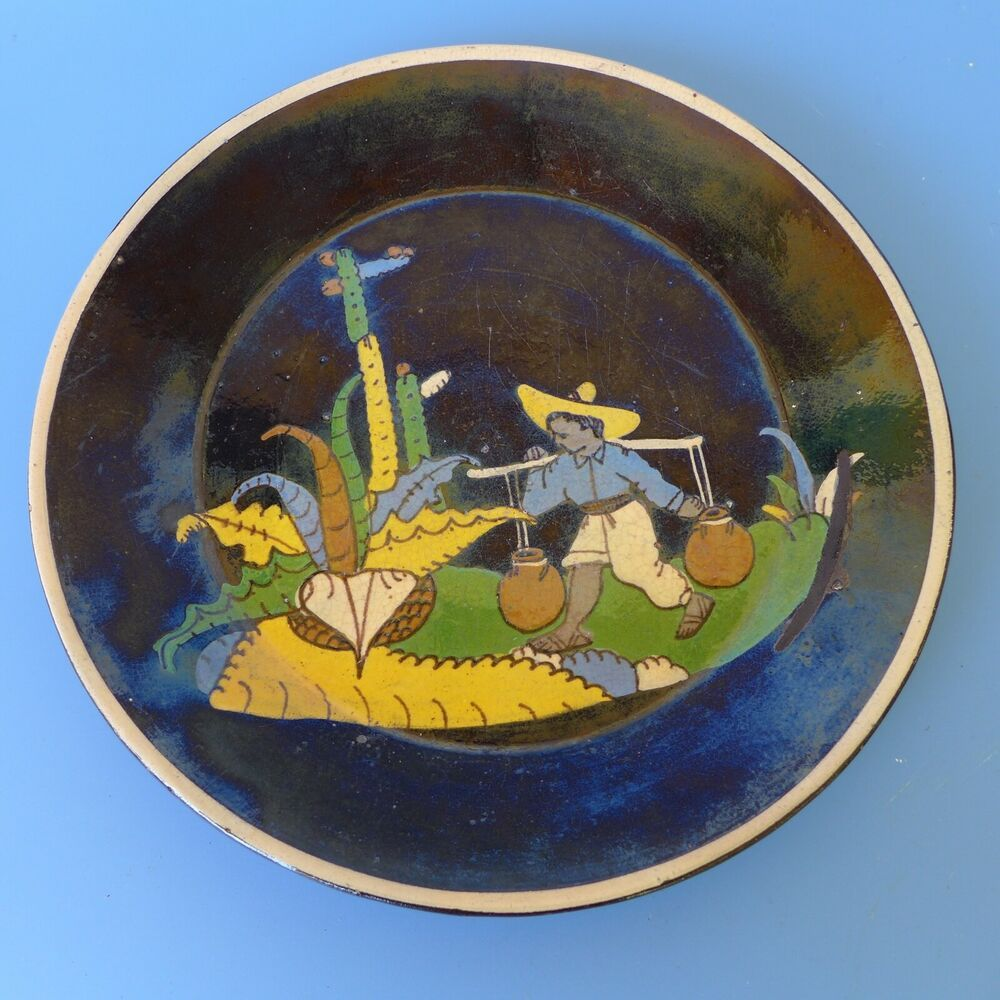 Details about Vintage 1940 Mexican Tlaquepaque black plate