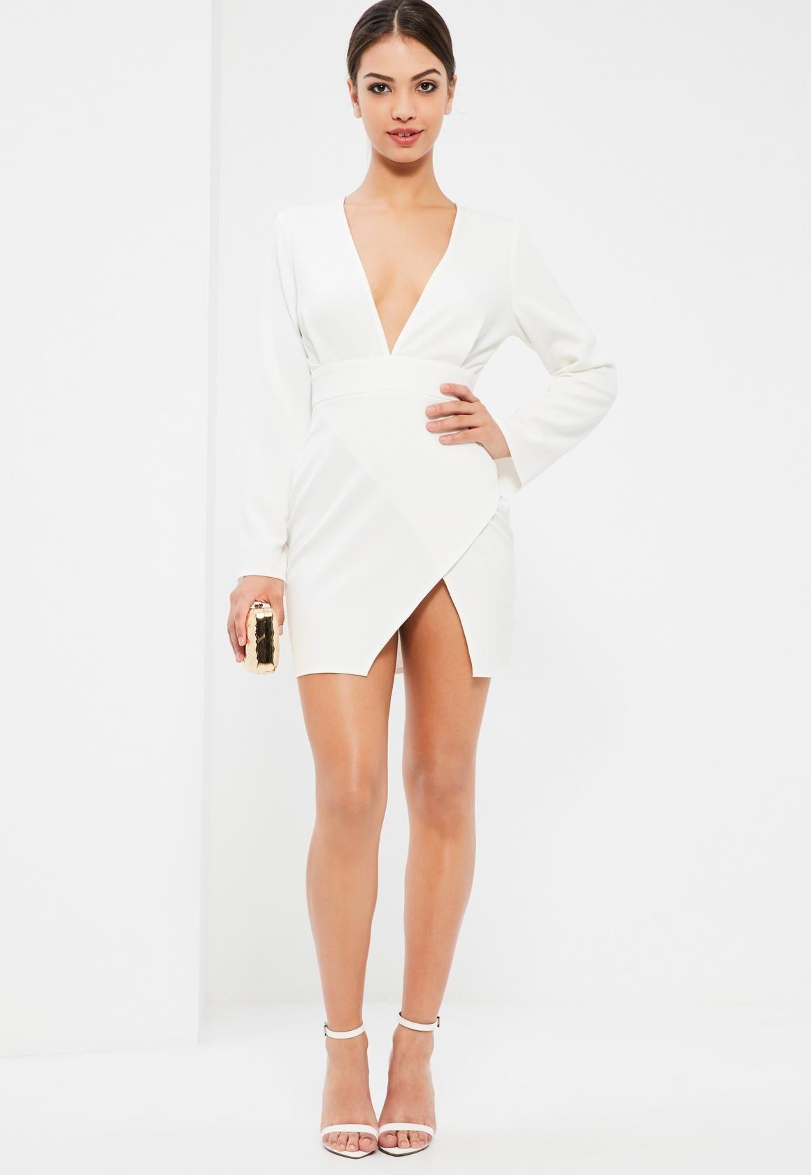 0c0983e0c Missguided - Vestido Asimétrico Ajustado con Cuello de Pluma en Blanco