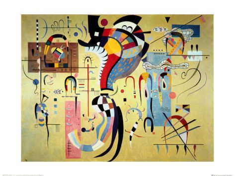 """Kandinsky - """"Milieu Accompagne"""" - I love all of the different colour shadings and swirls accented by the straight lines in this painting."""