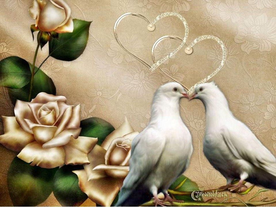 Открытка с юбилеем с голубями, подругу