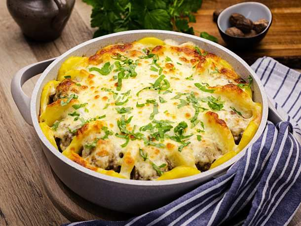 Hackbällchen-Kartoffel-Tarte Rezept | LECKER