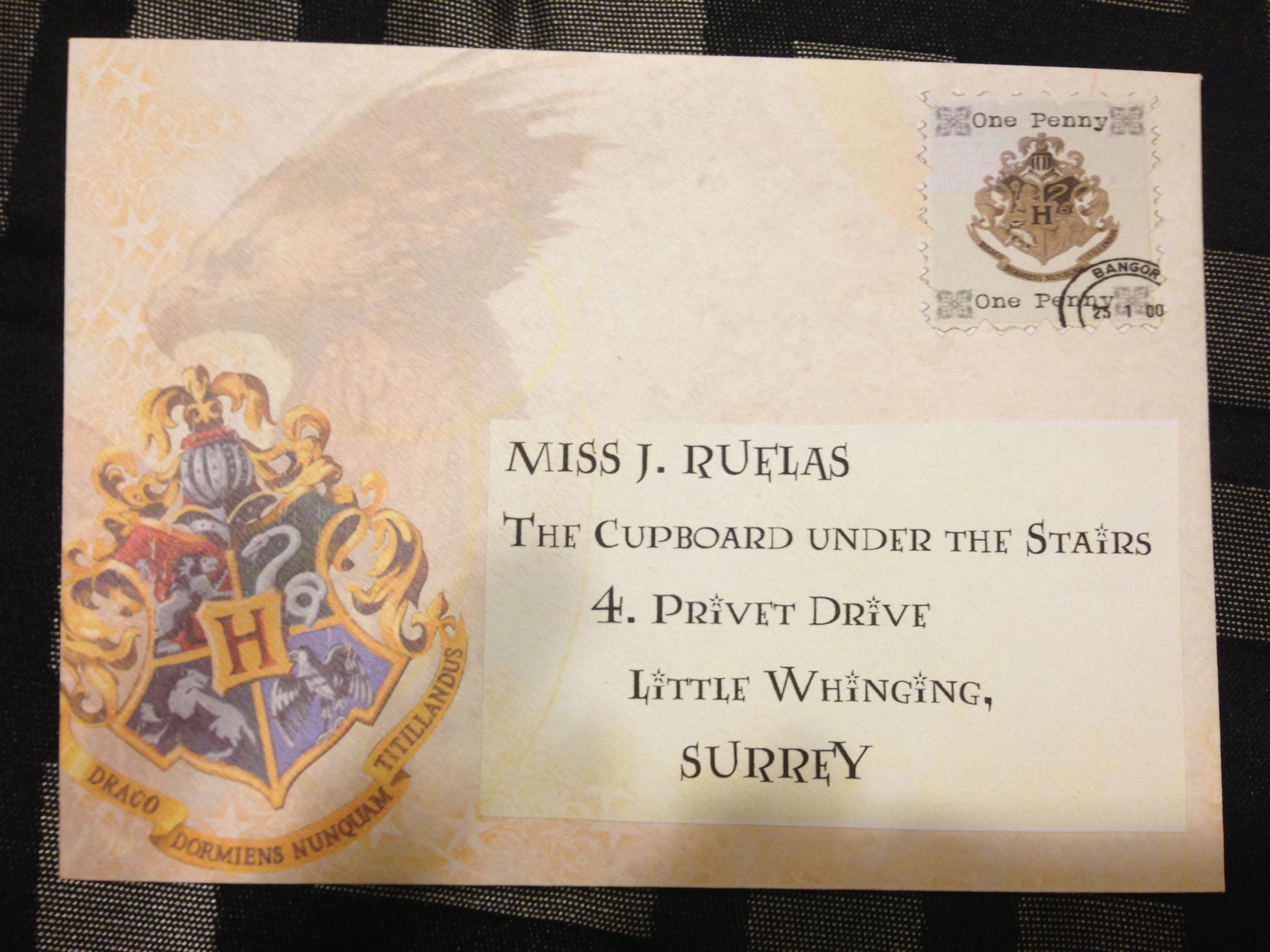 This Is The Envelope I Used For The Harry Potter Invitation Letter