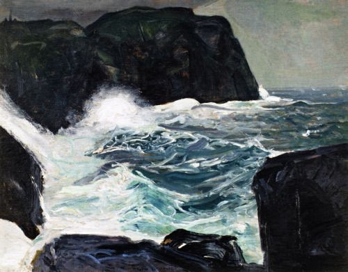 "nypmhet:  George Wesley Bellows, ""Blackhead and Sea"". 1913. Oil On Canvas."