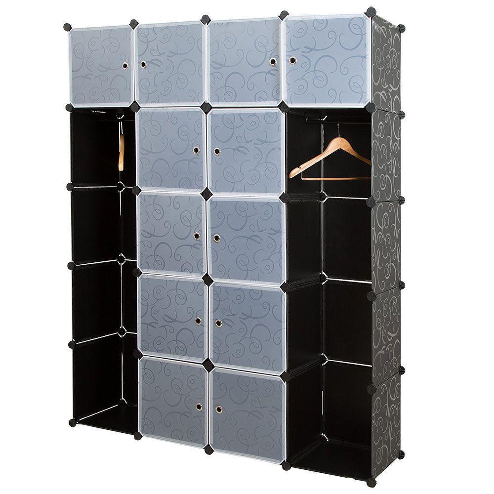 NEUHOLZ® System Regal Schrank + Türen 180x145cm Schwarz/Weiß Steck ...