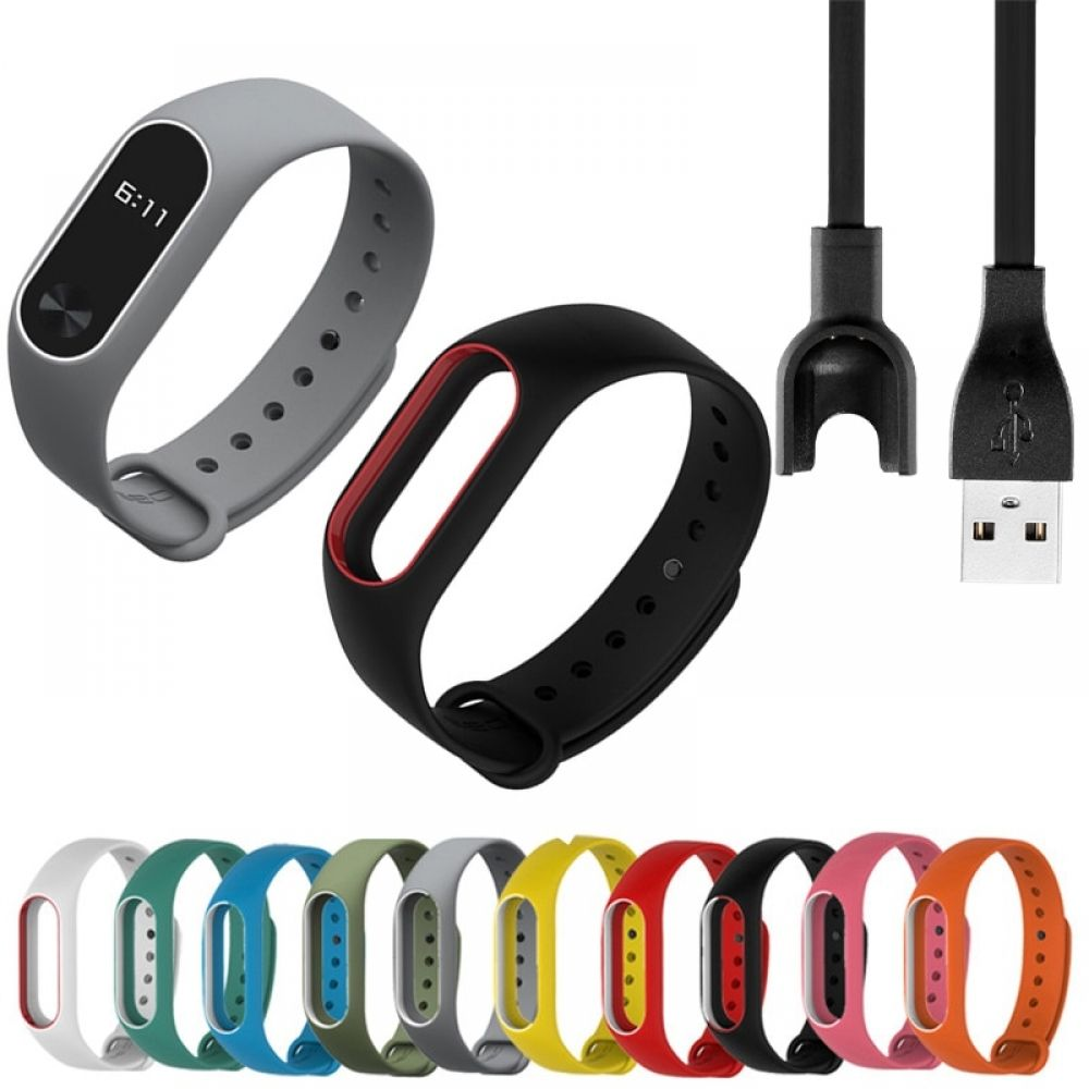 Colorful Replacement Wristbands And Charger For Xiaomi Mi Band 2 Xiaomi Wrist Strap Charger