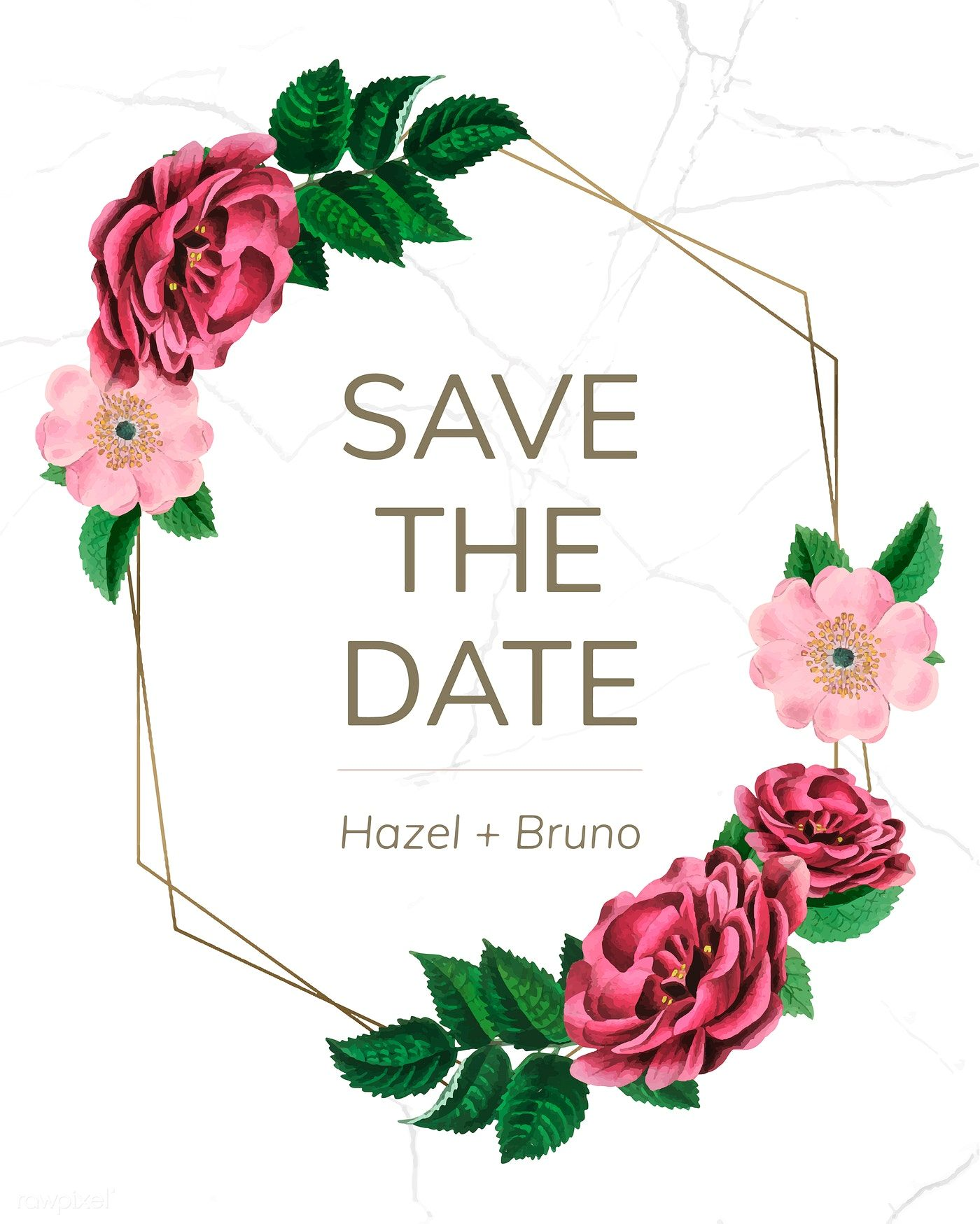 Save The Date With Floral Frame Vector Free Image By Rawpixel Com Hwangmangjoo กรอบ