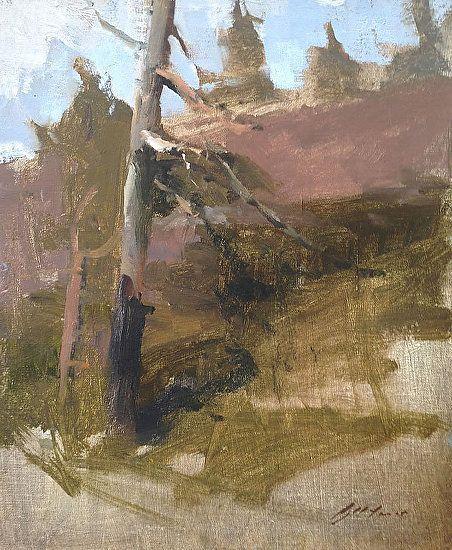 "Trees near Sugar Bowl by Simon Addyman Oil ~ 12"" x 10"""