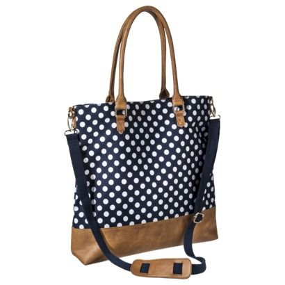 8744438e0490 Merona® Polka Dot Canvas Tote Handbag with Removable Crossbody Strap – Blue