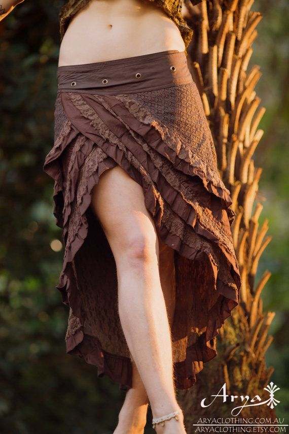 Gypsy Wrap Skirt (Brown) – Festival Clothing Hand Made Crochet Layer Goa Hippie Doof Adjustable Bohemian Lace Layer Winter Skirt Boho