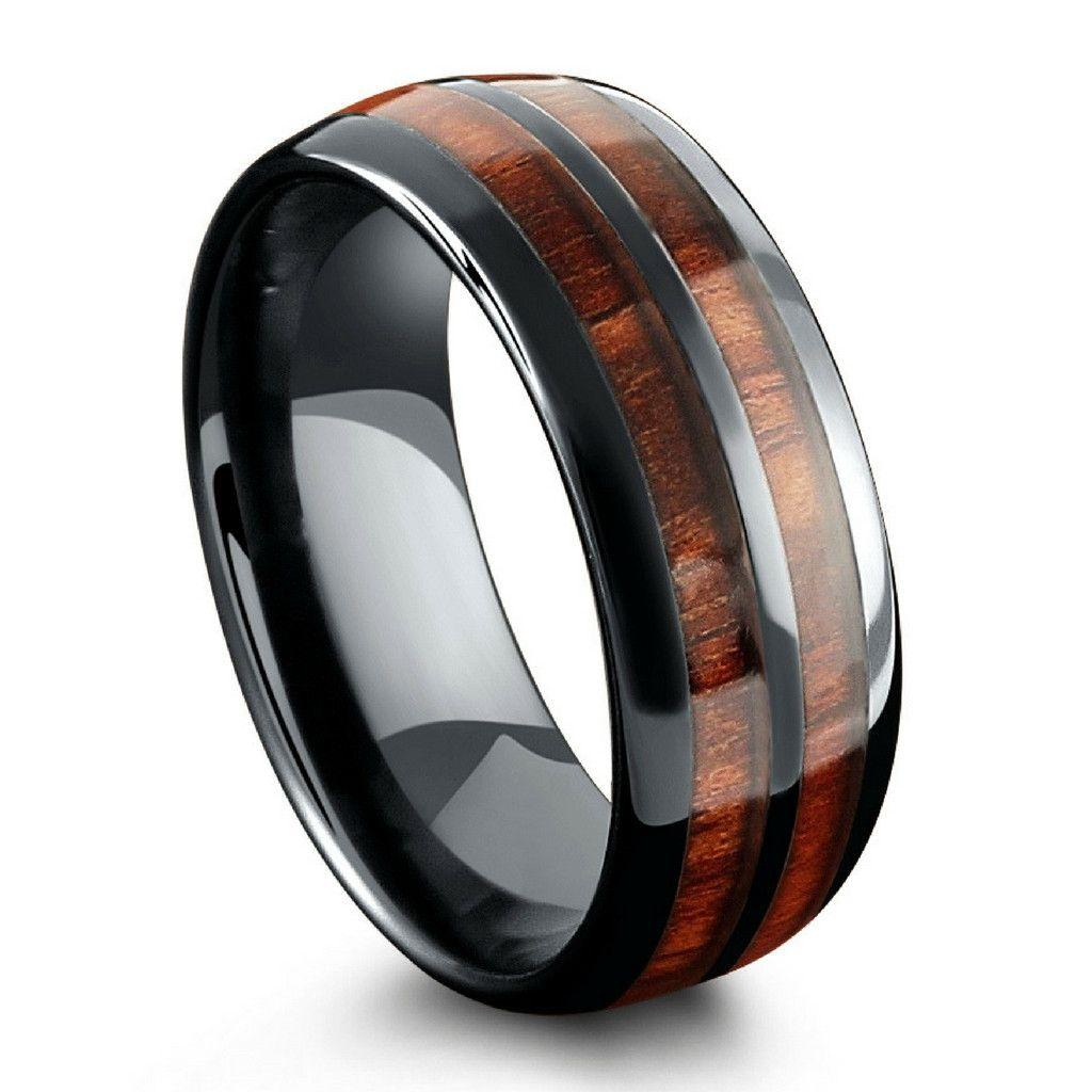 Barrel Ceramic Koa Wood Ring