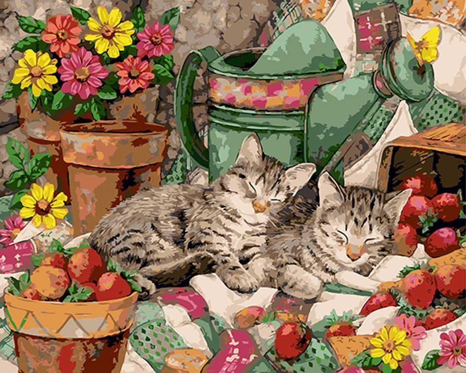 """16x20/"""" Oil Painting Canvas DIY Acrylic Sleeping Lovely Cats Paint By Number kit"""