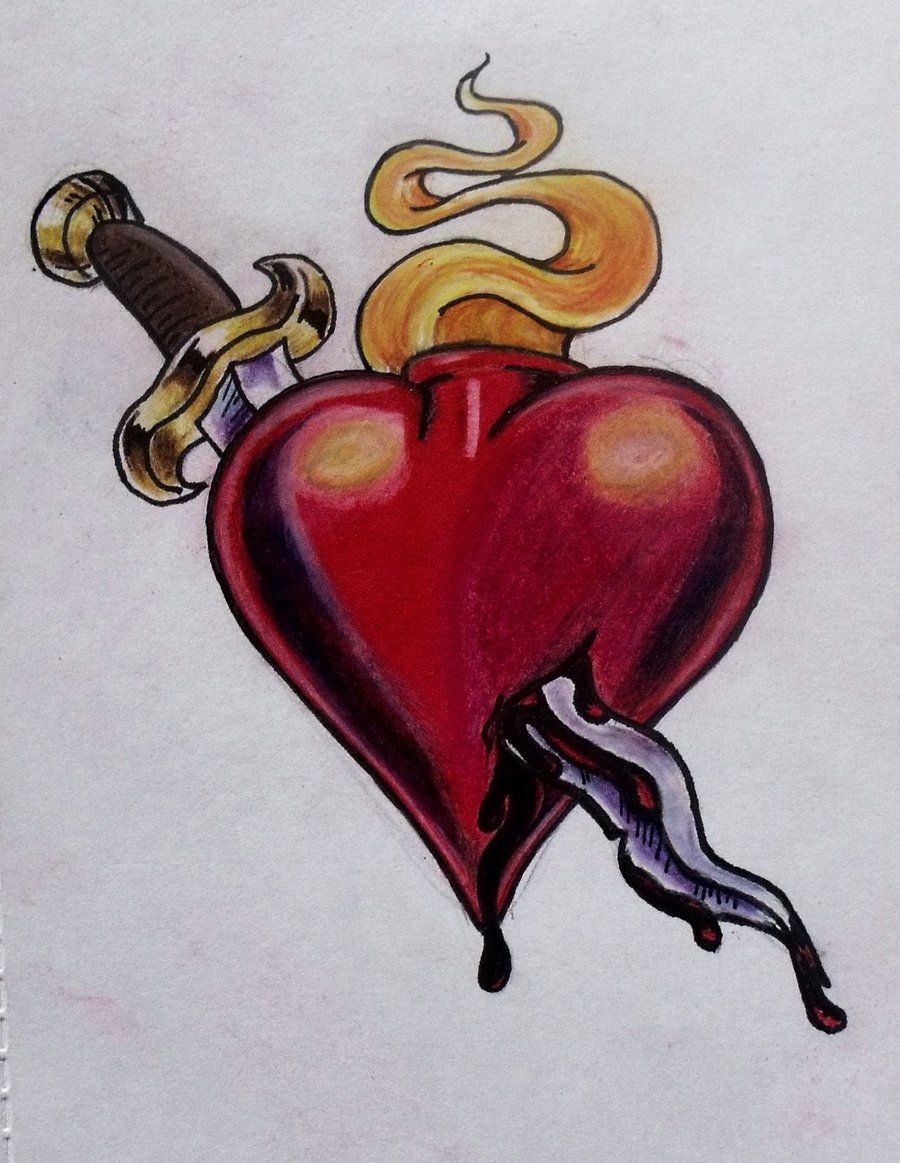 Realistic Knife In The Heart Drawing: Heart And Dagger By Ifinch.deviantart.com On @deviantART