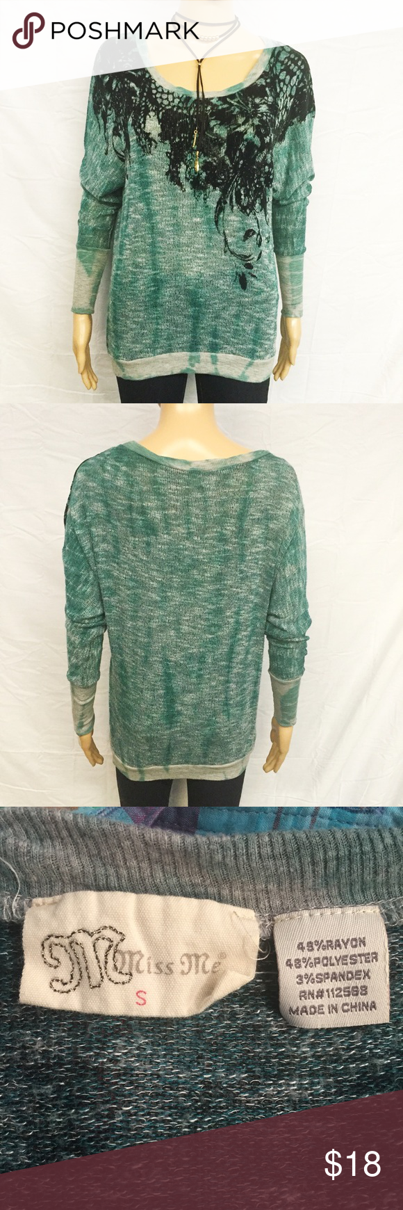 Miss Me Tunic Sweater Super cute Miss Me tunic length sweater! Beautiful embroidered lace pattern accented by black beads. Dolman sleeves. Large stretchy cuffed sleeves. Runs slightly large for a relaxed fit. Gently used with no damage. Smoke and pet free home. Miss Me Sweaters Crew & Scoop Necks