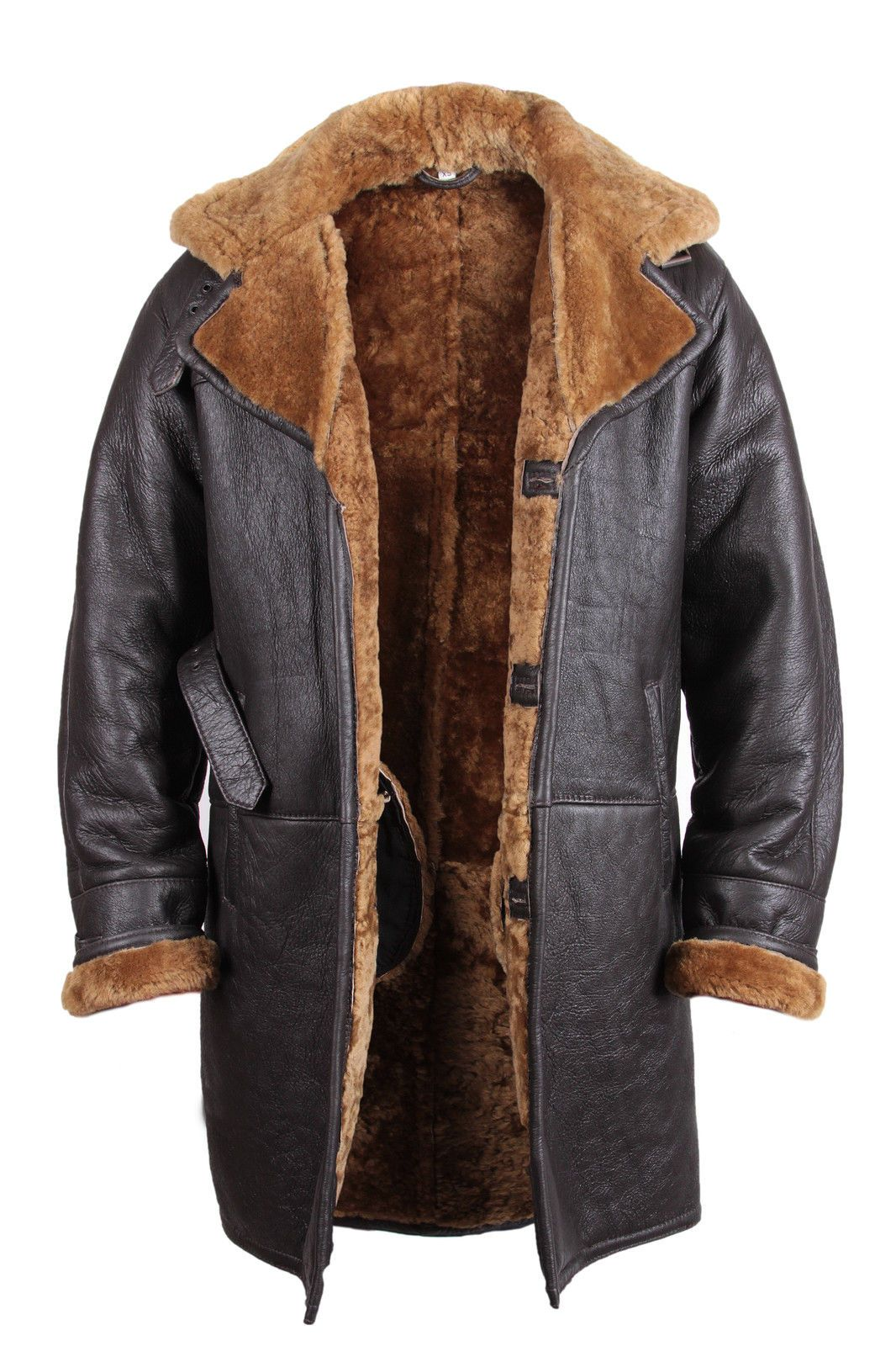 Brown MEN'S Warm Winter Real Shearling Sheepskin Leather Duffle Coat | eBay