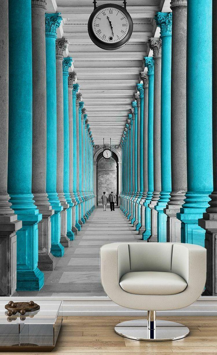 wand mit fototapete architektur blau grau schwarz wei s ulen bahnhof wohnispirationen. Black Bedroom Furniture Sets. Home Design Ideas