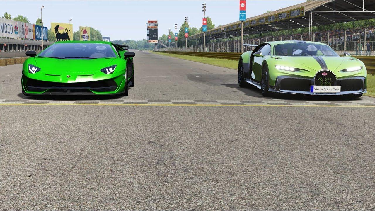 Bugatti Chiron Pur Sport vs Lamborghini Aventador SVJ at Monza Full Course