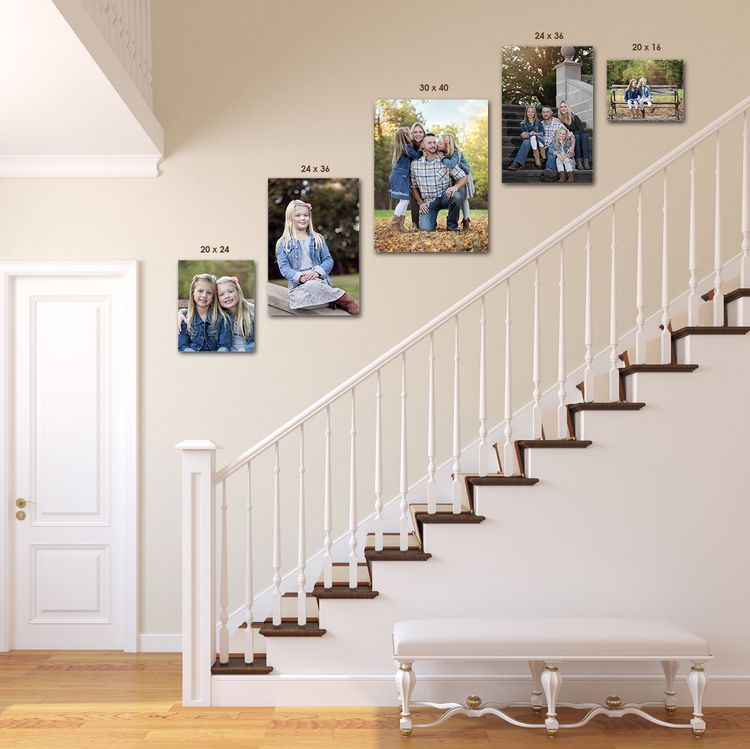 Stair Climber 1 20x24 2 24x36 1 30x40 1 20x16 Canvas Wrap 2 150 Or 1 20x24 3 Decorating Stairway Walls Stair Wall Decor Stair Photo Walls