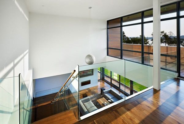 double height ceiling | For the Home | Pinterest | Glass railing ...