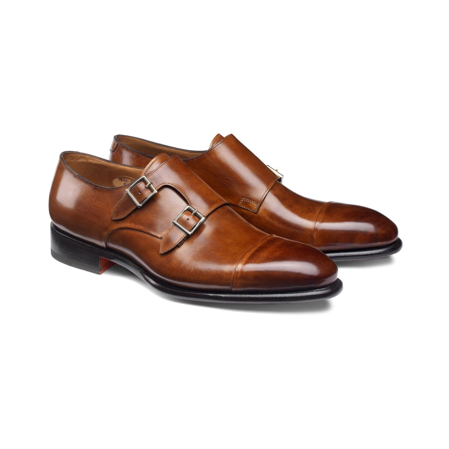 Double-buckle leather shoes, cod. 25993