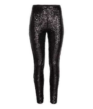 dc14e55bae Leggings in black, sequined mesh. High waist with concealed elastication.  Jersey lining. | H&M Divided