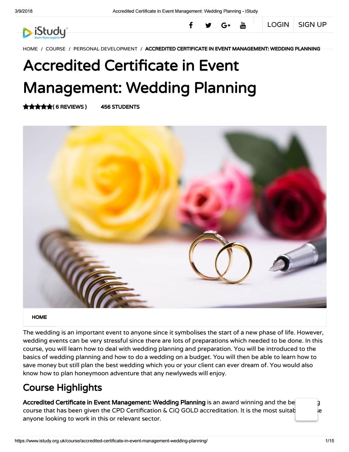 Accredited Certificate In Event Management Wedding Planning Istudy