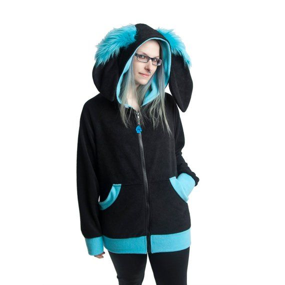 a66dddc8461fb Pawstar bunny rabbit hoodie cozy fleece jacket furry ears bounce hop extra  warm soft jacket jpg