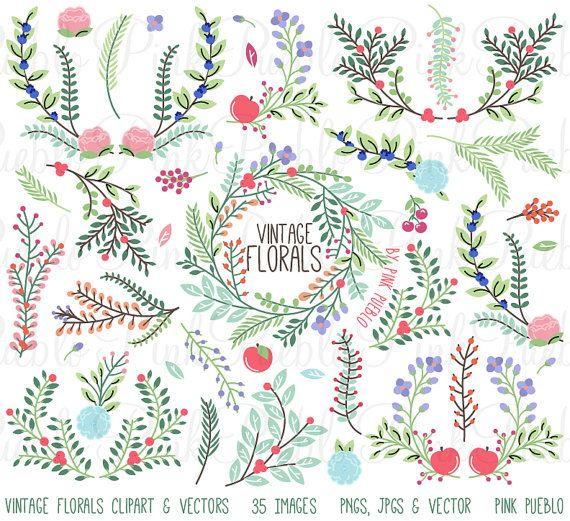 Vintage Floral Clipart Clip Art Rustic Par PinkPueblo
