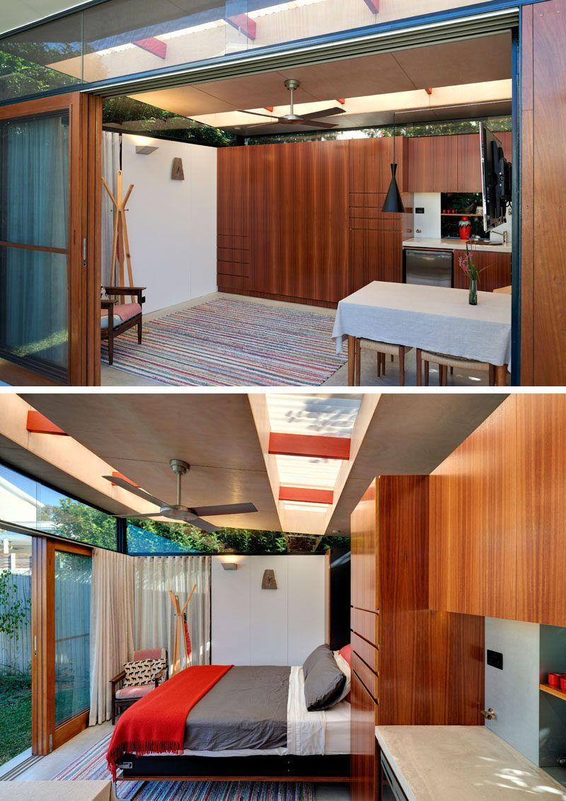 This impressive backyard shed combines living quarters a bathroom