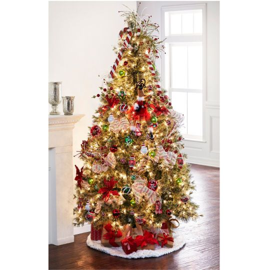 Celebrate It Pre Lit Jasper Cashmere Christmas Tree 7 5 Ft Decorated