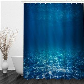 Deep Blue Sea 3d Printed Bathroom Waterproof Shower Curtain