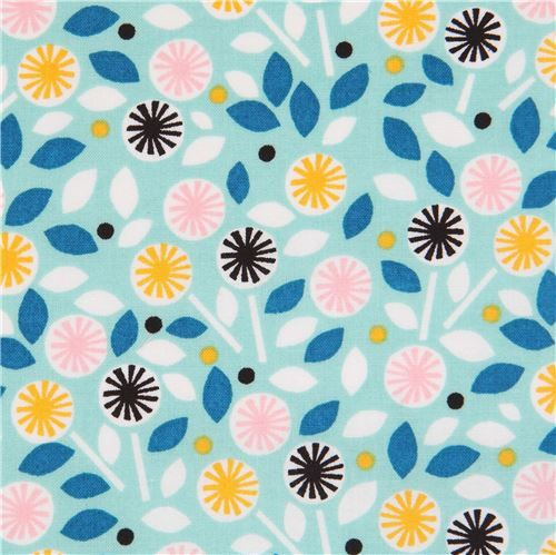 turquoise 'Glint' colorful flower leaf Cloud 9 organic cotton fabric 1