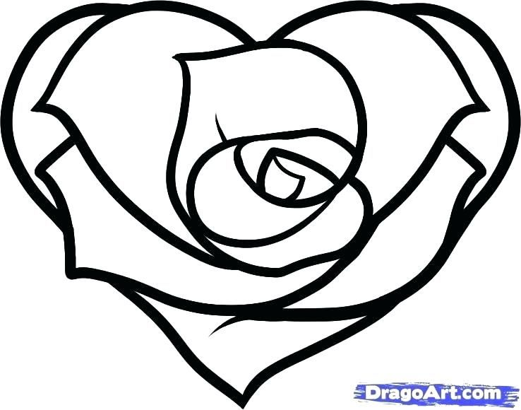 Roses Coloring Pages Hearts And How To Draw A Heart Rose Step By Amy