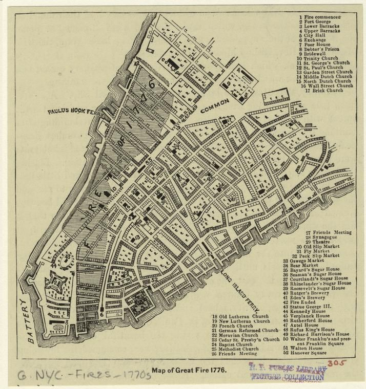 Map Of New York 1776.Map Of The Great Fire Of 1776 It S A Picture Worldd New York