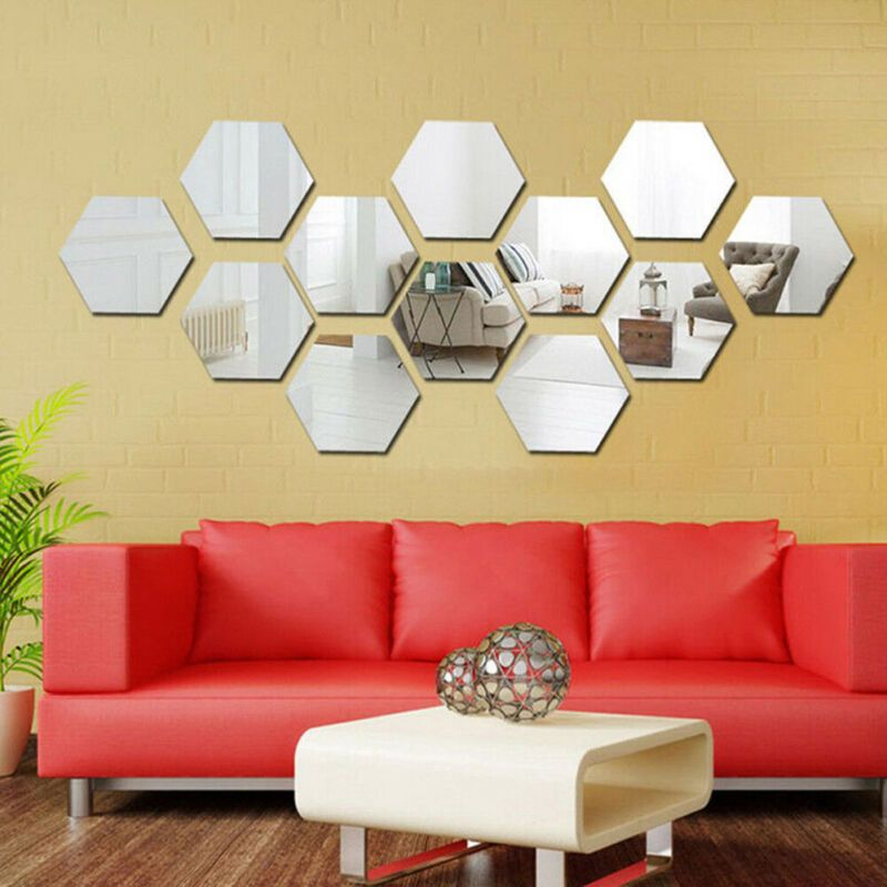 Diy Feather Plume 3D Mirror Wall Stickers For Living Room Art Home Decor