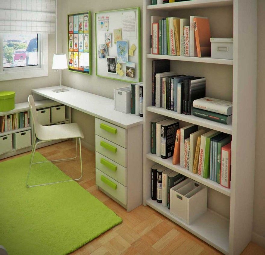 Small Kids Room minimalistic white study desk and racks with green accent for