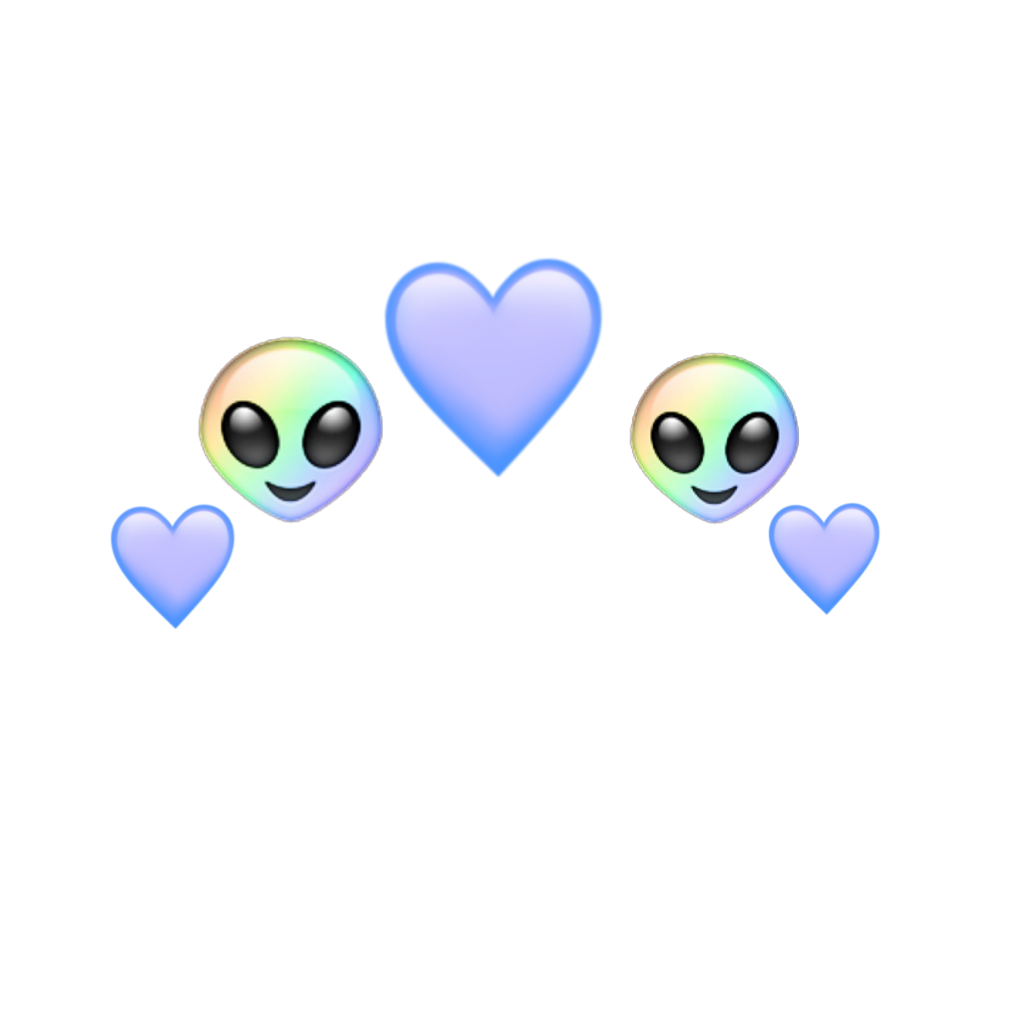 alien heart emoji rainbow blue aesthetic