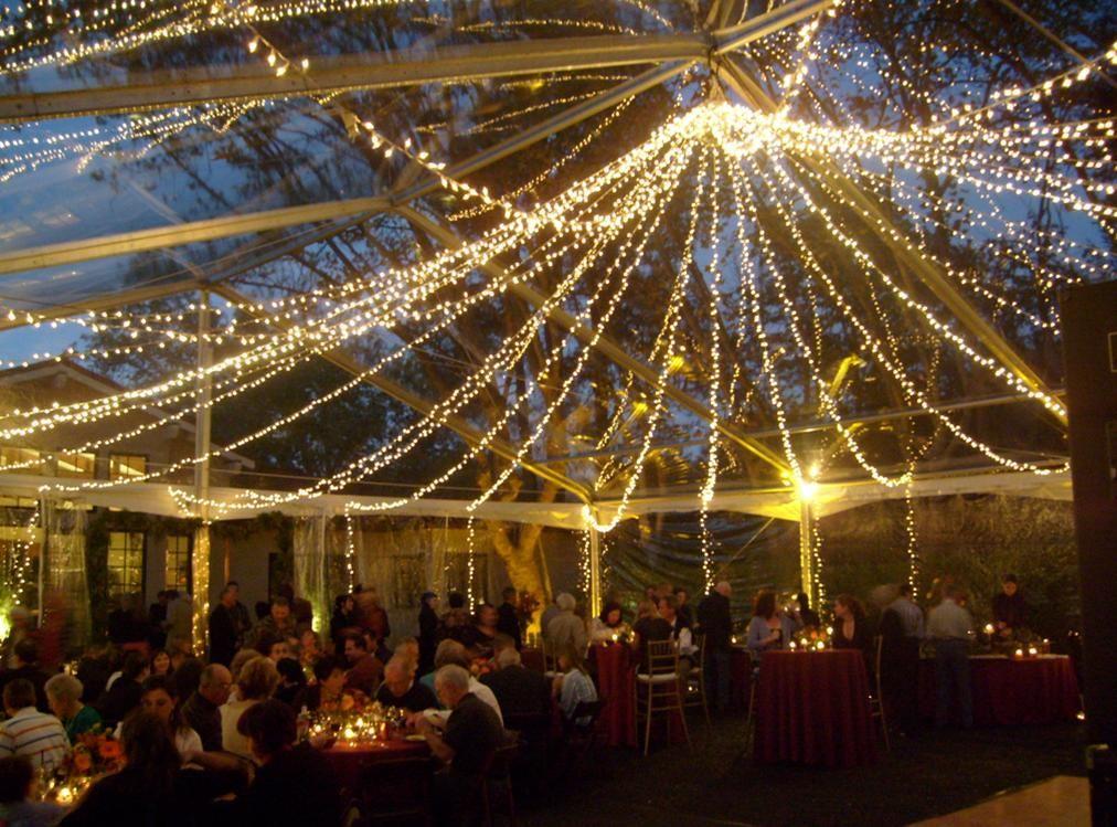 Clear top tent wedding bells pinterest for Wedding tent lighting ideas