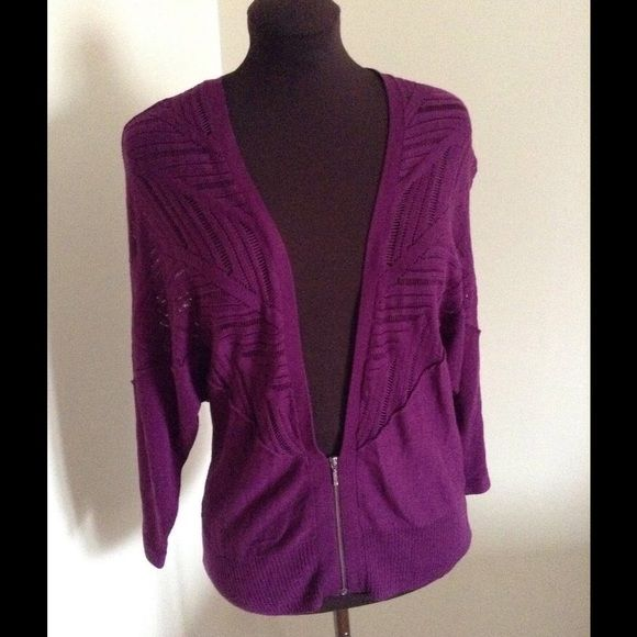 $99 S Purple Holista Dolman Sleeve Cardigan Like NEW  Lovely Purple oversized wool blend sweater with openwork lace and dolman sleeves.  Very light weight and easy to layer with, even in the summer!  Half front sip and ribbed hem and sleeve edges. 3/4 length sleeves   Bust: 36 Waist: 30 Sleeve: 20 Length: 25 Holista Sweaters Cardigans