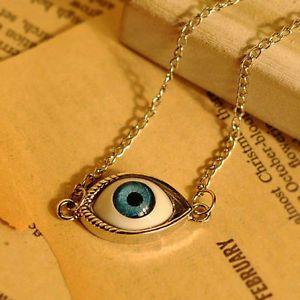 Devil's Eye Silver Plated Bib Statement Punk Style Pendant Necklace