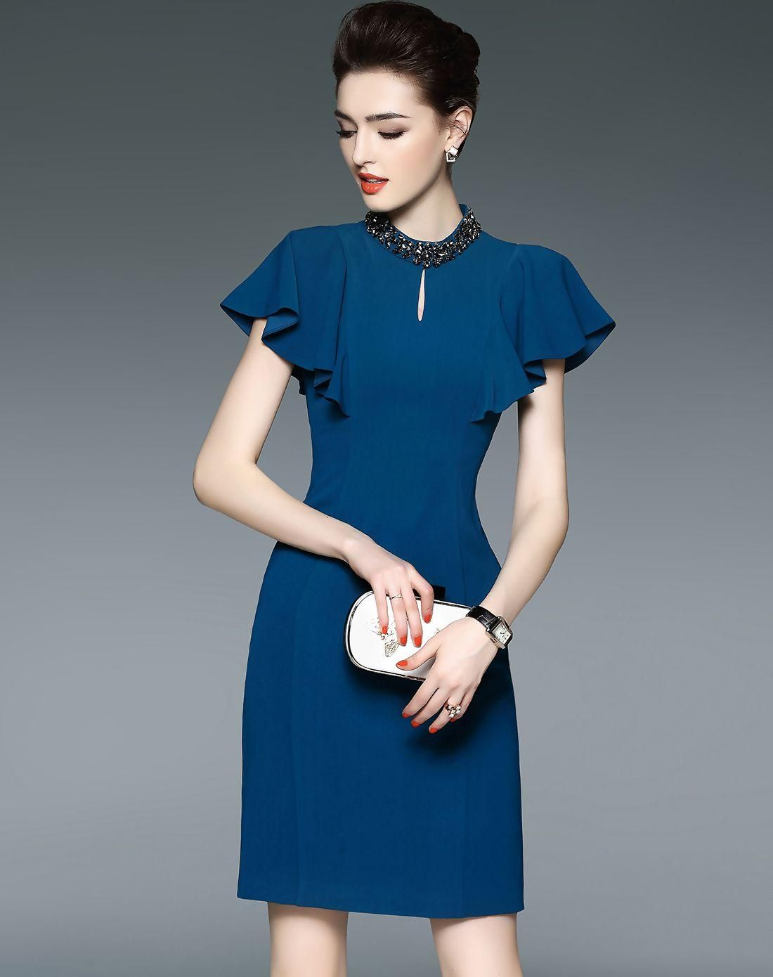 VIPme (VIPSHOP Global) - LONYUASH Blue Plain Beaded Keyhole Ruffle Sleeve Sheath Dress - AdoreWe.com