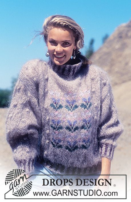 "9a82165412d7 DROPS 24-13 - DROPS jumper in ""Vienna"" with flower pattern in ""Alpaca"". -  Free pattern by DROPS Design"