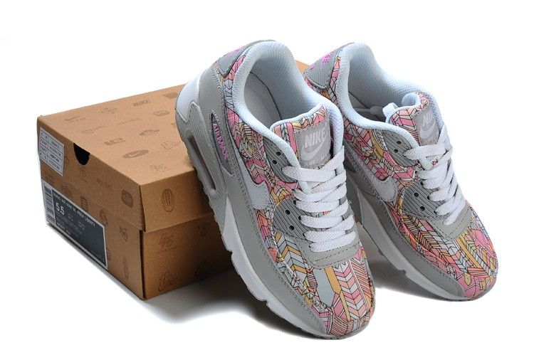 Women s Nike Air Max 90 Floral Flower Art Shoes Silver White Pink Khaki  Light Yellow Wholesale UK b0b84f2122