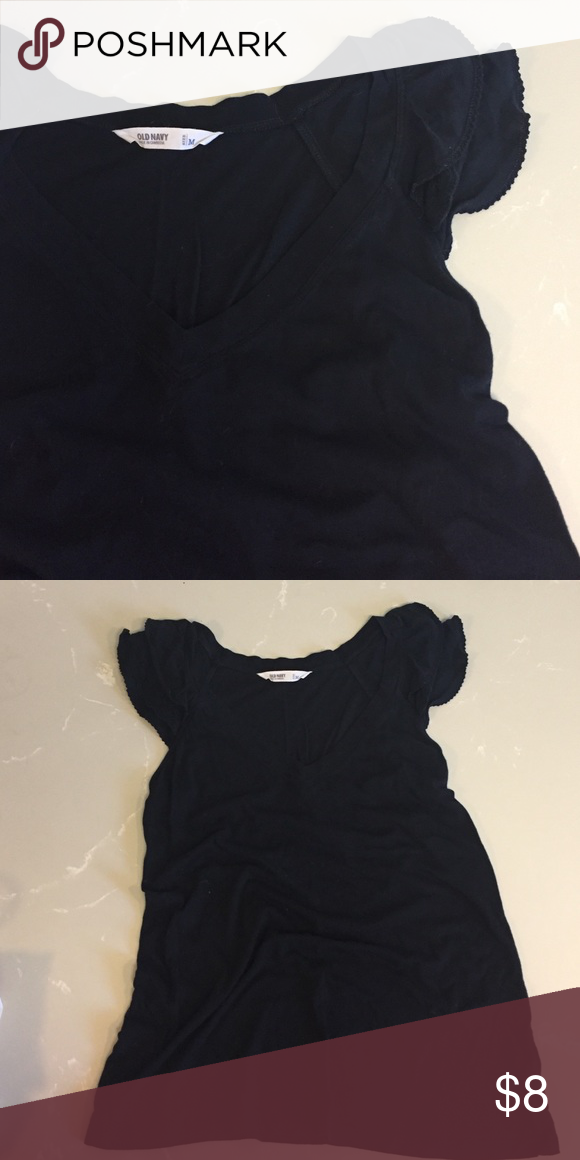 Old Navy Ruffle Sleeve T Ole new, never worn! Adorable ruffle sleeve and V-neck detail. Old Navy Tops Tees - Short Sleeve