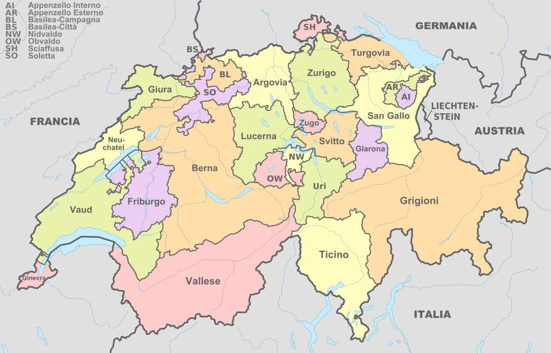 The Cantons Of Switzerland 26 In Number Are The States That Make