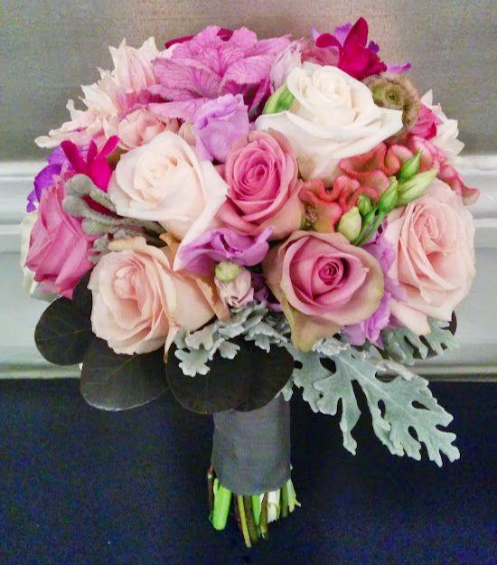 A mixed bridal bouquet: roses, dahlias, kale, coxcomb, dusty miller, scabiosa, dendrobium orchids, brunia, and smokebush. #studioag #studioagdesign