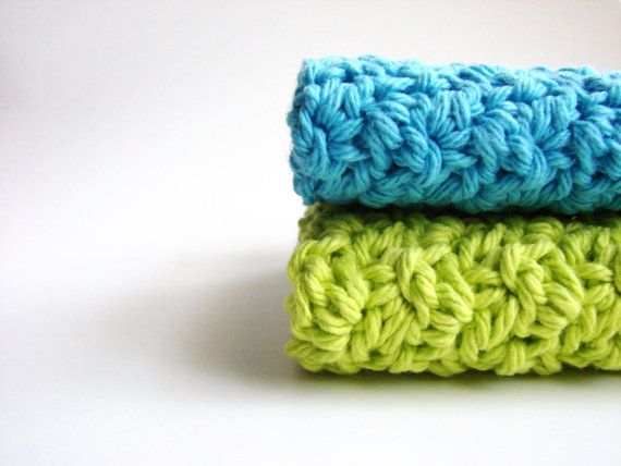 Washcloth knit, great guft for your soon to be college student! @myhobbyshop #crochet #teal #lime #cotton #home