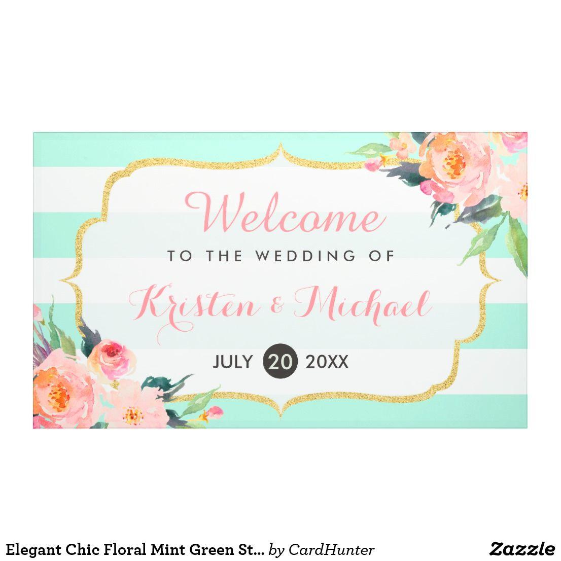 Elegant Chic Floral Mint Green Stripes Wedding Banner Zazzle Com